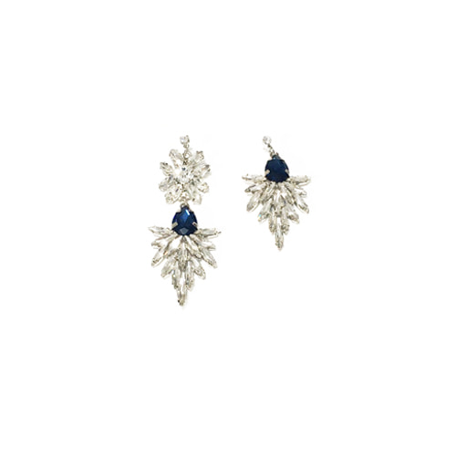 BLUE CRYSTAL LEAF DROP EARRINGS