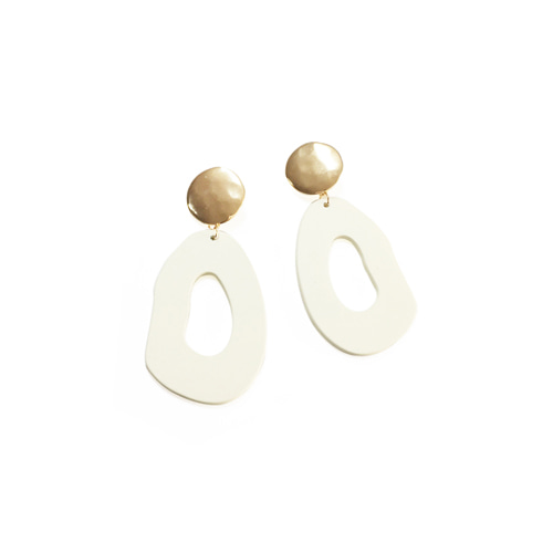 [삿치x루나착용] GOLD CIRCLE ART DROP EARRINGS