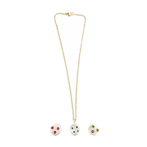PEARL BL CRYSTAL NECKLACE 3color